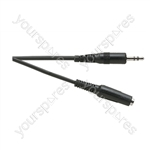 Standard 3.5 mm Stereo Jack Plug to 3.5 mm Stereo Jack Socket Lead - Lead Length (m) 3