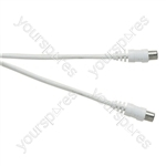Standard Coaxial Plug to Coaxial Plug TV and Video Lead White - Lead Length (m) 10