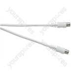 Standard Coaxial Plug to Coaxial Socket TV and Video Lead White - Lead Length (m) 10