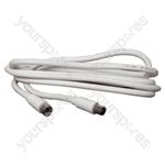 White 2m F Plug To Coax Plug Lead.  Bulk
