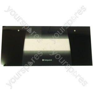 Indesit Top Oven Door Glass with Black Detail
