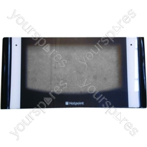 Indesit Top Oven Door Glass w/ White detailing