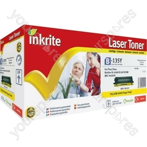 Inkrite Laser Toner Cartridge compatible with Brother TN130 TN135 Yellow (Hi-Cap)