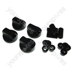 4 X Universal Cooker/Oven/Grill Control Knob And Adaptors Black