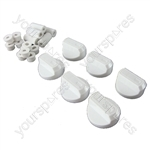 Universal Cooker Oven Grill Control Knobs And Adaptors White Fits All Gas Electric x 6