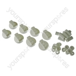 8 X Universal Cooker/Oven/Grill Control Knob And Adaptors White